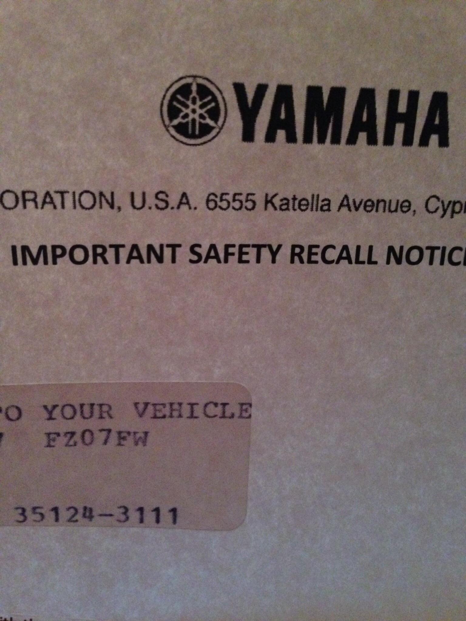 Got my recall notice! | Yamaha FZ-07 Forum